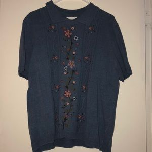 Alfred Dunner blue embroidered short sleeve